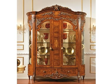 Wood and glass display cabinet REGGENZA LUXURY | Display cabinet