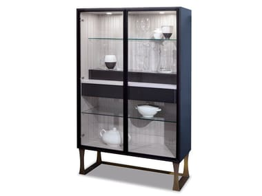 Wooden display cabinet with integrated lighting SQUARE | Display cabinet