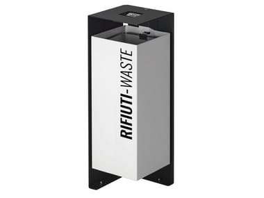 Galvanized steel litter bin with lid with ashtray DIVISION | Litter bin with ashtray
