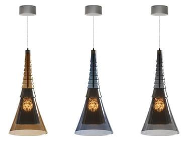 Lampada a sospensione a LED in vetro borosilicato DJED | Lampada a sospensione