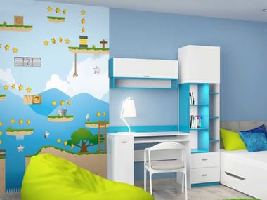 Washable panoramic non-woven paper kids wallpaper DL-LEVEL