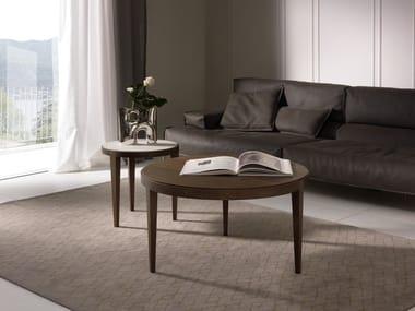 Mesa de centro baixa redonda DOMINIQUE | Mesa de centro de folheado de madeira
