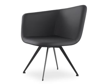 Swivel leather easy chair DOMINO | Leather easy chair