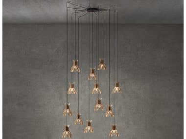 LED wooden pendant lamp DOMITA S 20 13L