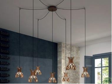 LED wooden pendant lamp DOMITA S 20 7L