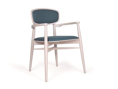 Upholstered wooden chair with armrests DONASELLA EST TP CB