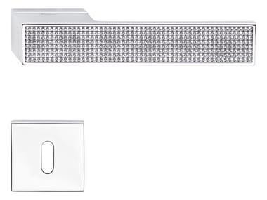 Zamak door handle with Swarovski® Crystals with lock LOFT ZINCRAL MESH | Door handle