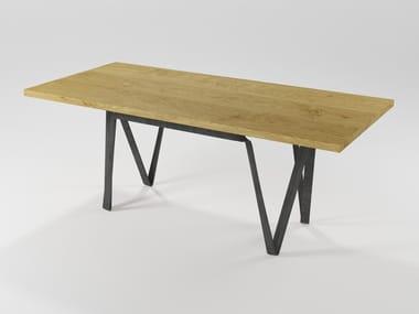 Mesa de jantar retangular de madeira maciça DOPPIAVI | Mesa de carvalho