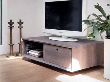 Double-sided spruce TV cabinet with drawers DOUBLE