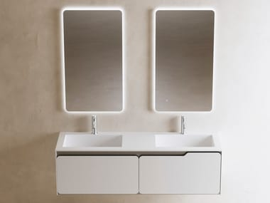 Double wall-mounted Solid Surface vanity unit with drawers SOLIDO | Double vanity unit