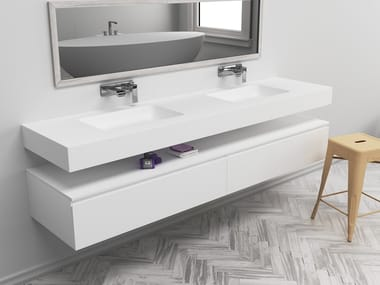 Double rectangular wall-mounted Corian® washbasin TORONTO | Double washbasin