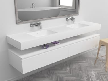 Double rectangular wall-mounted Corian® washbasin ENERGY | Double washbasin