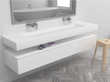 Double rectangular wall-mounted Corian® washbasin GEORGIA | Double washbasin