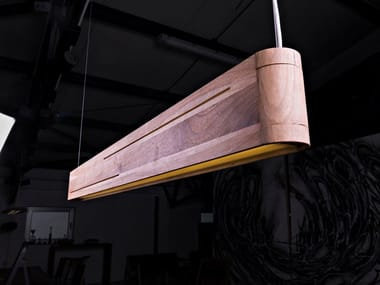 Lampada a sospensione a LED a luce diretta in legno massello DOUBLELINE