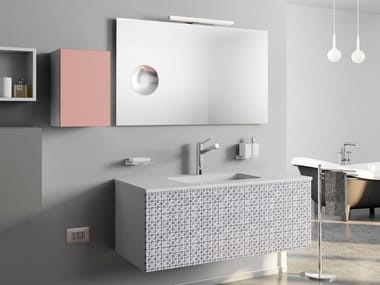 Single wall-mounted HPL vanity unit with drawers DR-ONE | Bathroom cabinet with sink