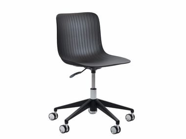 Task chair with 5-Spoke base with casters DRAGONFLY | Height-adjustable task chair