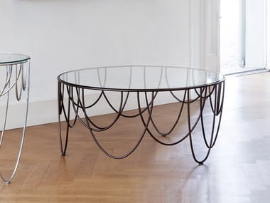 Low round crystal and steel coffee table DRAPERY