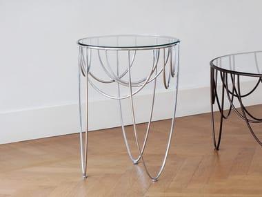 Table basse ronde en acier et cristal DRAPERY