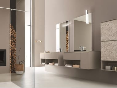 Double wall-mounted vanity unit with mirror DRESS 01
