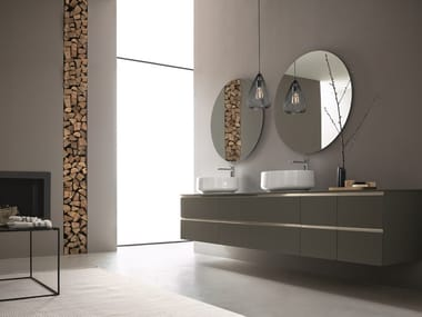 Double wall-mounted vanity unit with mirror DRESS 05
