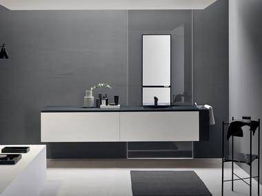 Suspended basin unit with integrated washbasin DRESS | Vanity unit