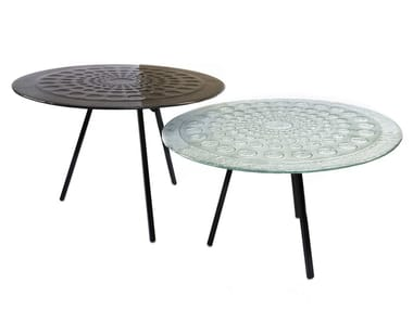 Round glass coffee table DROPS