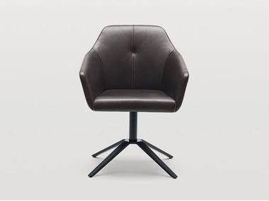 Leather easy chair with armrests DS-279 | Easy chair with 4-spoke base