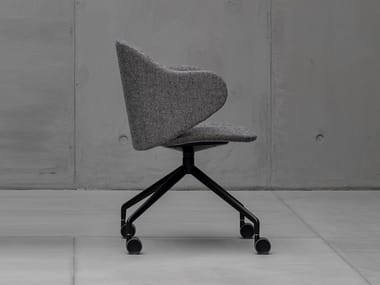 Swivel fabric chair with castors DUA | Chair with castors