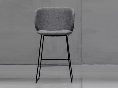 High sled base fabric stool with back DUA | High stool