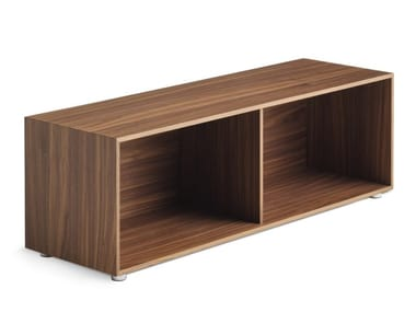 Low walnut coffee table with storage space DUET