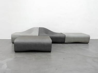 Modular cement Bench with back DUNE | Bench