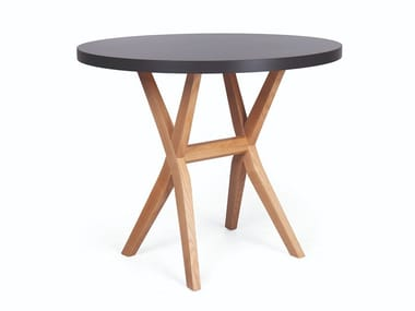 Round wooden dining table DUO RED