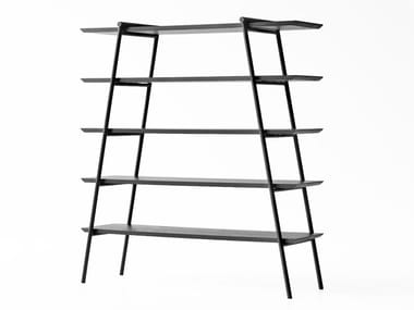 Open double-sided steel and wood bookcase DUOO | Bookcase