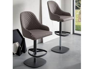 Upholstered leather stool with gas lift DYLAN