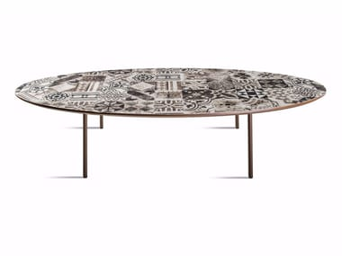 Low oval MDF coffee table E-122