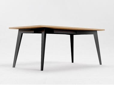 Rectangular steel and wood table E5