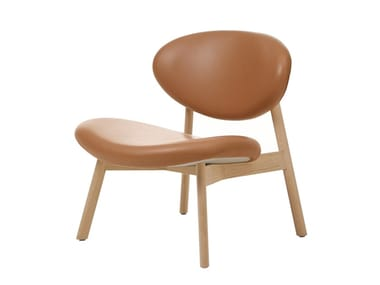 Upholstered solid wood easy chair OVOID | Easy chair