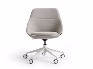 Fabric office chair with 5-Spoke base with castors EZY LOW
