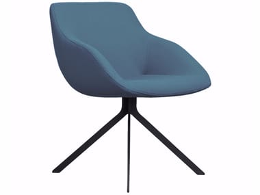 Upholstered trestle-based fabric chair BLUE | Trestle-based chair