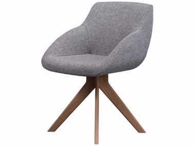 Gepolsterter Stuhl aus Stoff auf fixem Fußgestell BLUE CONFERENCE - WOOD