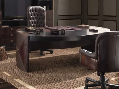 Oval leather executive desk CITY | Office desk