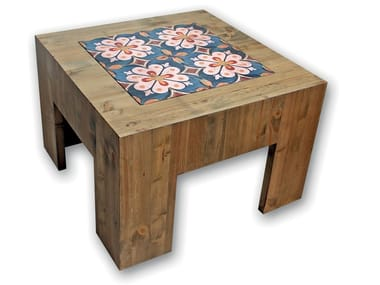 Low square wooden coffee table ECASTOR
