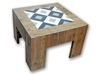 Low square wooden coffee table ECASTOR SAXA