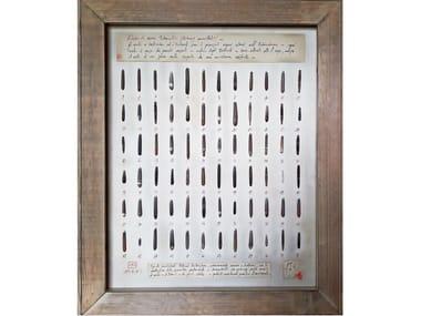 Quadro con conchiglie naturali e cornice in legno ECHINUS MAMILLATUS