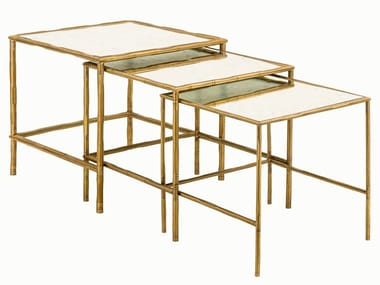 Square brass coffee table ECLECTIC BAMBOO 04 TRIS