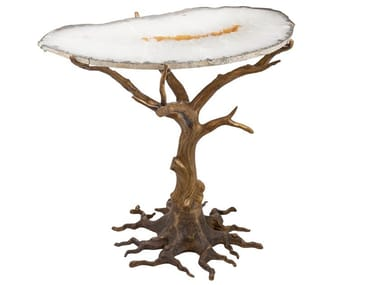 Brass coffee table with agata top ECLECTIC QUERCIA 02