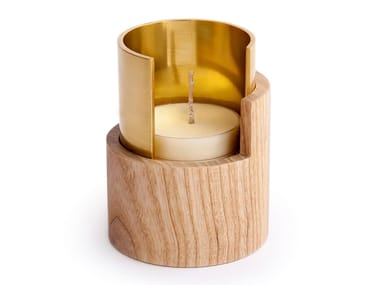 Ash and brass candle holder ECLIPSE | Brass candle holder