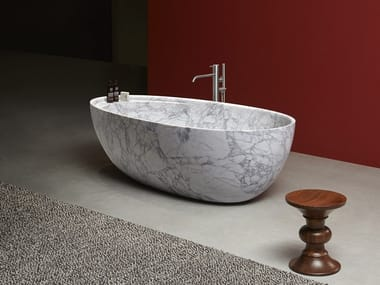 Freestanding oval Carrara marble bathtub ECLIPSE | Carrara marble bathtub
