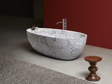 Vasca da bagno centro stanza ovale in marmo di Carrara ECLIPSE | Vasca da bagno in marmo di Carrara