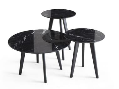Mesa de apoio redonda de mármore EDGAR | Mesa de centro de mármore